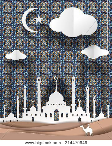 man and camel front of Masjid geometry of Islamic design background vector paper art. paper cut cute illustration