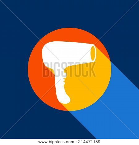 Hair Dryer sign. Vector. White icon on tangelo circle with infinite shadow of light at cool black background. Selective yellow and bright navy blue are produced.
