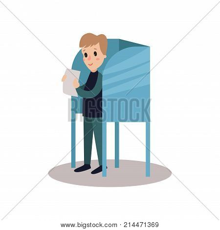 Man standing in voting booth and holding ballot, people taking part in voting vector Illustration isolated on a white background