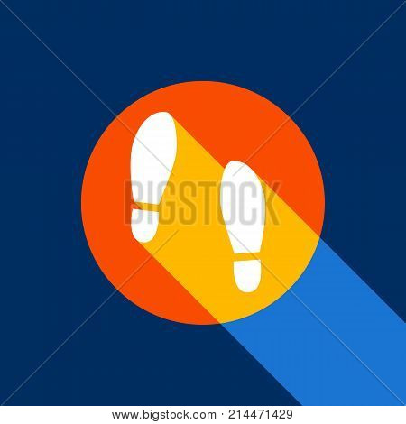 Imprint soles shoes sign. Vector. White icon on tangelo circle with infinite shadow of light at cool black background. Selective yellow and bright navy blue are produced.