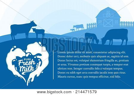 Vector milk illustration with milk splash rural landscape with cows calves and farm