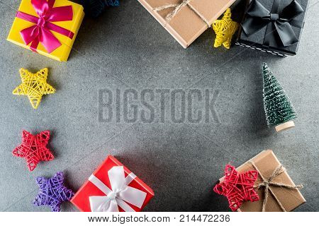 Merry Christmas and Happy Holidays. Xmas gifts for all family. New year mockup with christmas tree and presents. Top view. Christmas family traditions.