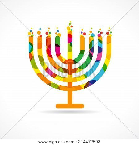 Hanukkah menorah emblem colored. Jewish holiday Hanukkah greeting card traditional Chanukah symbol menorah candles lowing lights pattern. Vector template