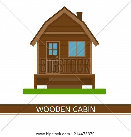 Vector illustration of a wooden house. Cute cabin isolated on white background. Country house in flat style