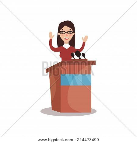 Female politician character standing behind rostrum with raising hands and giving a speech, public speaker, political debates vector Illustration isolated on a white background