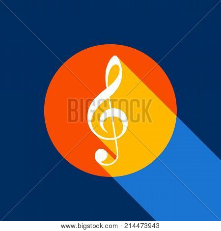 Music violin clef sign. G-clef. Treble clef. Vector. White icon on tangelo circle with infinite shadow of light at cool black background. Selective yellow and bright navy blue are produced.