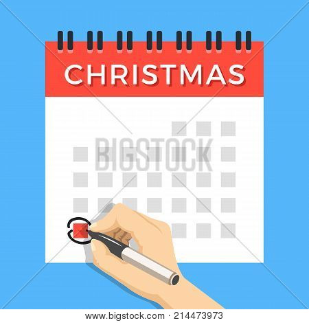Hand with marker circling Christmas day on calendar. Wall spiral calendar with marked Christmas holiday. Version with week started on Monday. Modern flat design concept. Vector illustration
