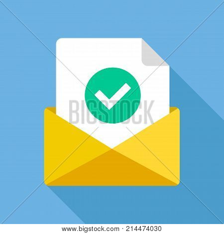 Envelope with document and round green check mark icon. Successful e-mail delivery, email delivery confirmation, successful verification concepts. Modern flat design vector icon poster