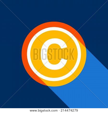 Copyright sign illustration. Vector. White icon on tangelo circle with infinite shadow of light at cool black background. Selective yellow and bright navy blue are produced.