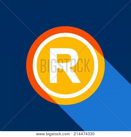 Registered Trademark sign. Vector. White icon on tangelo circle with infinite shadow of light at cool black background. Selective yellow and bright navy blue are produced.