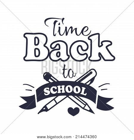 Back to school time black-and-white sticker with inscription. Isolated vector illustration of crossed fountain pen and graphite pencil
