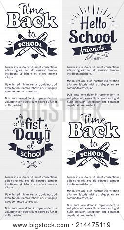 Hello first day back to school related set of black-and-white stickers with inscriptions. Vector illustration of stationery items with text below