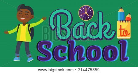 Back to school sticker with inscription and indian boy. Vector illustration of round wall clock, yellow notebook and two graphite pencils behind it
