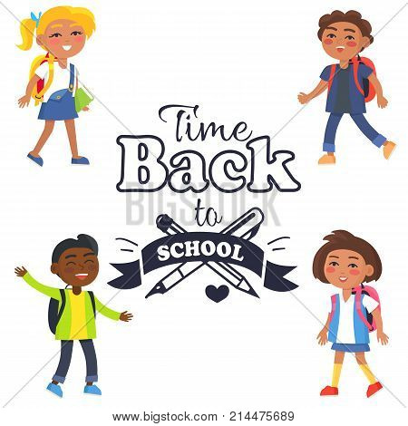 Back to school time black-and-white sticker with inscription. Vector illustration of crossed fountain pen and graphite pencil surrounded by pupils