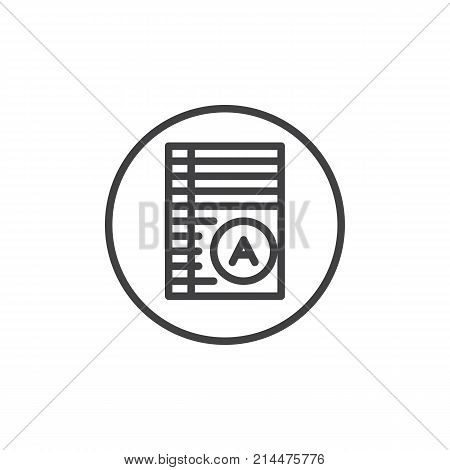 Test paper with excellent mark line icon, outline vector sign, linear style pictogram isolated on white. Exam list symbol, logo illustration. Editable stroke