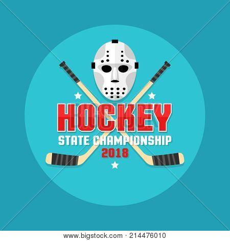 Hockey emblem with retro flat goalie mask and crossed sticks.