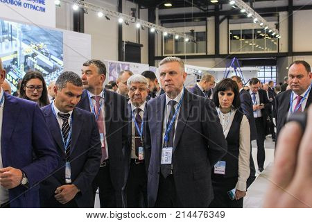 St. Petersburg, Russia - 3 October, Groups of business people on the forum, 3 October, 2017. Participants and visitors of the annual St. Petersburg Gas Forum.