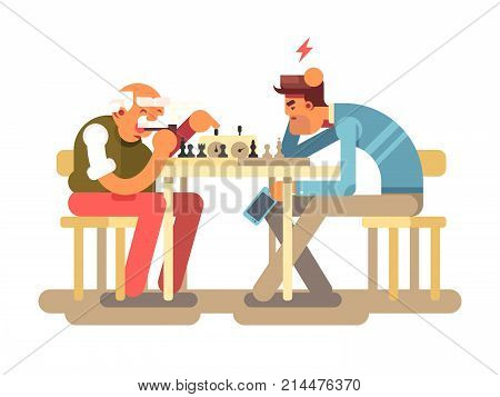 People play chess game. Two man competition playing at chess table, vector illustration