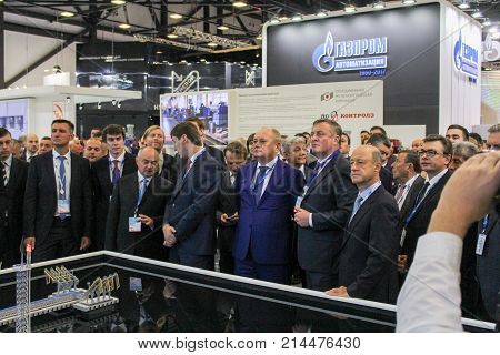 St. Petersburg, Russia - 3 October, A huge crowd of business people at the gas forum, 3 October, 2017. Participants and visitors of the annual St. Petersburg Gas Forum.