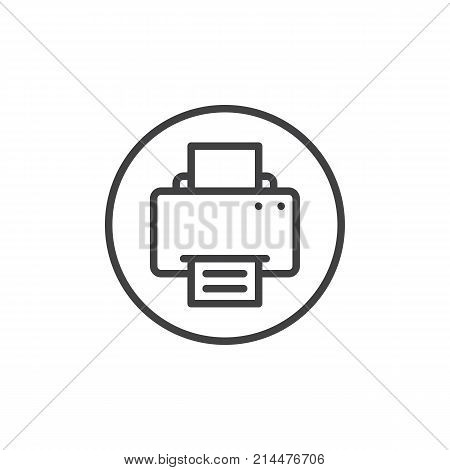 Printer line icon, outline vector sign, linear style pictogram isolated on white. Fax print documents symbol, logo illustration. Editable stroke