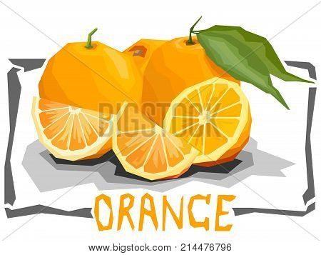 Vector simple illustration of oranges with halves in angular cartoon style.