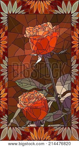 Vector mosaic with couple red roses in vertical stained-glass window frame.