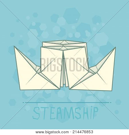Vector simple illustration origami of paper steamship.