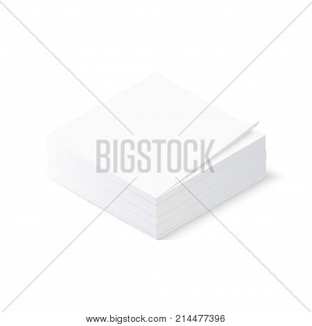 Note papers stack isolated on white. Isometric vector illustration