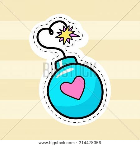 Bomb patch vector. Hand drawn fashion doodle badge sticker icon logo element.