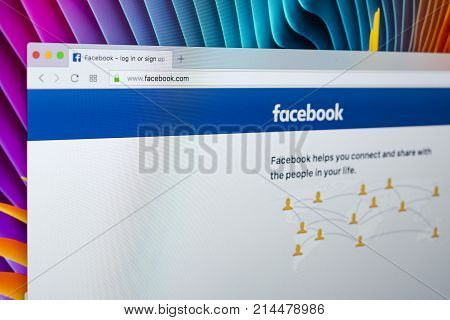 Sankt-Petersburg Russia November 20 2017: Facebook homepage one of the biggest social network website. Homepage of Facebook.com on Apple iMac monitor screen
