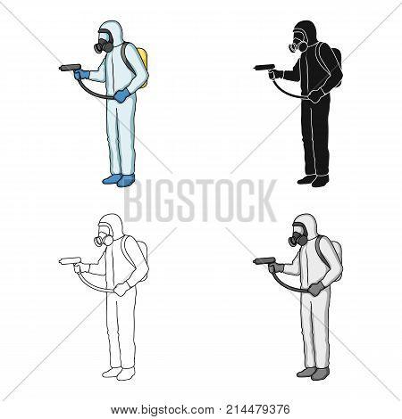 Staff in overalls single icon in cartoon, black, outline, monochrome style for design.Pest Control Service vector symbol stock illustration .