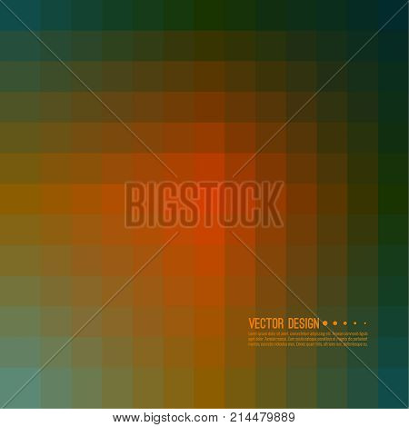 Abstract background with rhythmic overlapping squares. Transition and gradation of color. Vector blend gradient for illustrations, covers and flyer. Pixel green, orange.