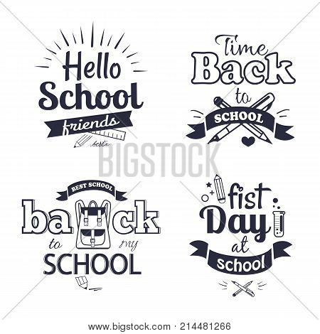 Hello first day back to school related set of black-and-white stickers with inscriptions. Isolated vector illustration of stationery items and educational supplies