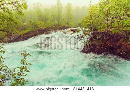 Waterfall Along The Aurlandsfjellet Norway