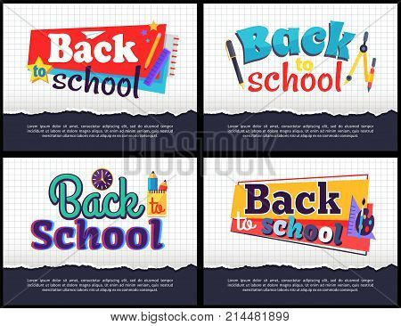 Back to school collection of colorful stickers with inscriptions on white squared paper sheet background. Isolated vector illustration of educational supplies