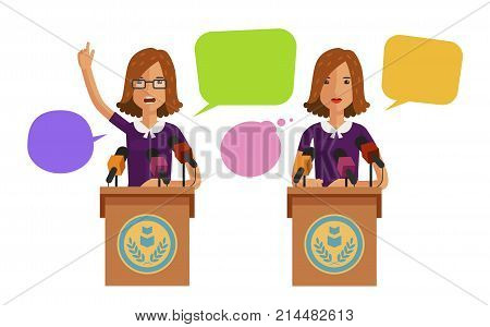 Woman speaks from podium, tribune. Business concept. Vector flat illustration isolated on white background