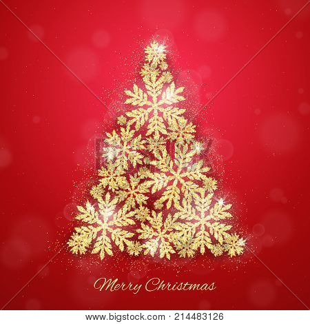 Merry Christmas and Happy New Year holiday greeting card with gold glittering snowflakes Christmas tree. Winter glow seasonal snowing red background