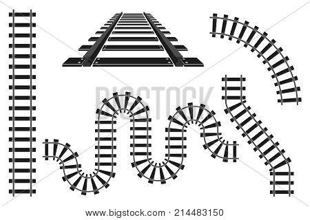 Train railway road constructor rails elements vector illustration