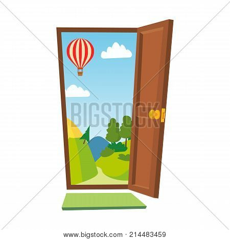 Opened Door Vector. Cartoon Flat Summer Landscape. Front View. Freedom Concept. Isolated Illustration.