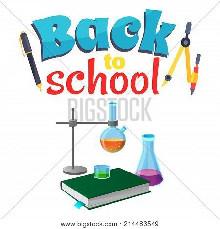 Back to school sticker with laboratory equipment isolated on white. Vector illustration of chemistry textbook, lab flasks, retort stand and stationery items