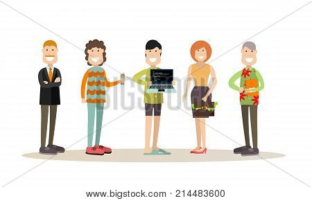Vector illustration of creative director and his team programmer, creator, website developer, graphic designer. Creative team people flat style design elements, icons isolated on white background.
