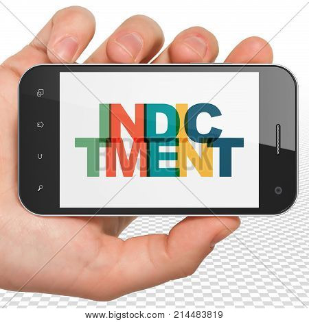 Law concept: Hand Holding Smartphone with Painted multicolor text Indictment on display, 3D rendering