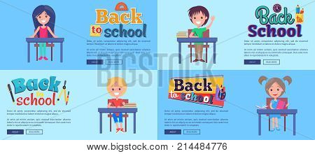Back to school collection of posters with pupils isolated on light blue background. Vector illustration of cheerful students during class
