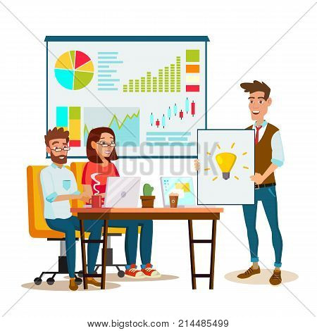 Team Work Brainstorming Vector. Presentation Of The Project. Innovation Idea Discussion People. Designer, Programmer. Global Planning. Flat Isolated Cartoon Illustration