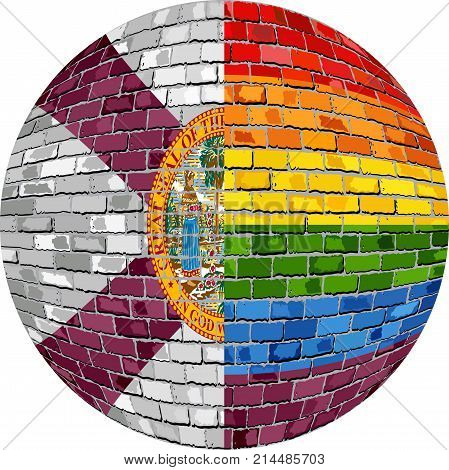 Ball with Florida and Gay flags - Illustration,  Abstract grunge Florida flag and LGBT flag in brick style