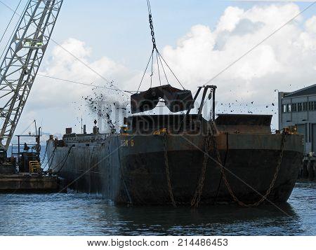 SAN FRANCISCO, CA - NOVEMBER 17: A Dredger Ship in the Pacific Oceans in San Francisco, California 2012