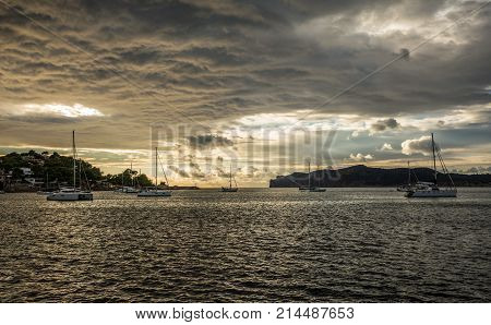 Santa Ponsa bay in the late afternoon (Majorca, Balearic Islands, Spain)