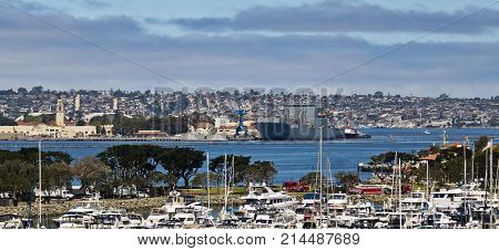 SAN DIEGO, CALIFORNIA, JUNE 9. San Diego Convention Center on June 9, 201,7 in San Diego, California. An Aerial Day View of Embarcadero Marina Park South in San Diego California.