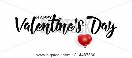 Happy Valentine's Day handwritten lettering cute red balloon isolated on white background vector illustration. Valentines Day calligraphic black text for banners, greeting cards, template for graphic design. Valentine's Day text.