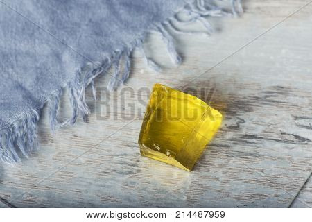 Yellow Jelly Cube Sweet Gelatin Dessert Fresh